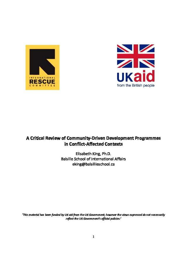 a critical review of community driven development programs in