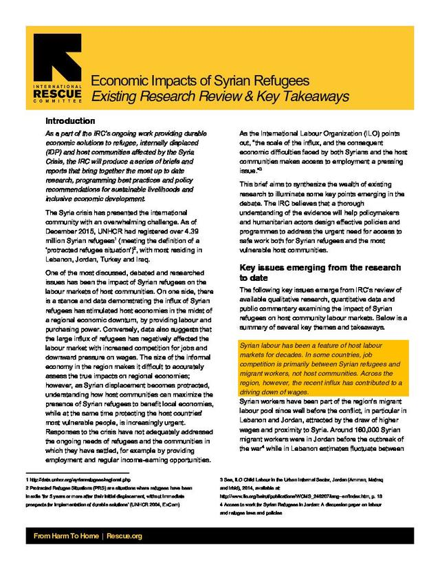 Policy Brief Impact Of Syrian Refugees On Host Communities