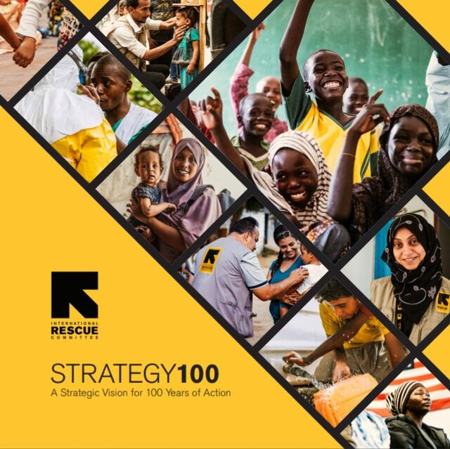 Cover for Interational Rescue Committee strategy 100 brochure
