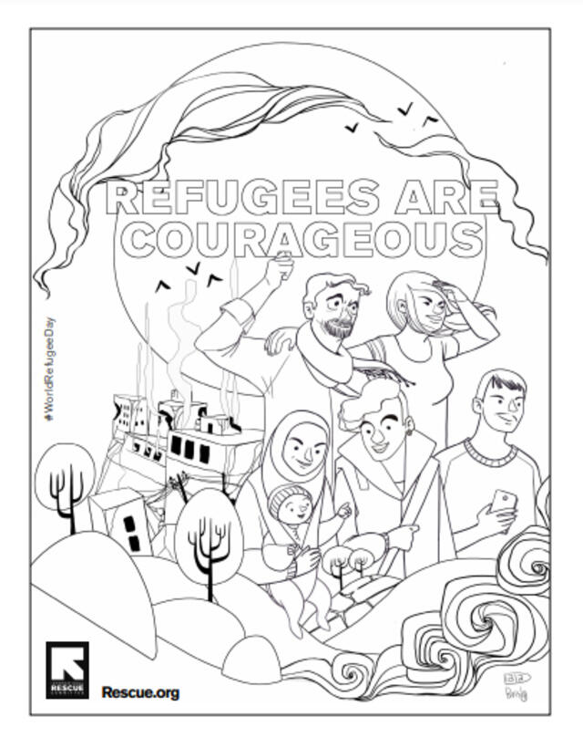 World Refugee Day 2021 illustration by Diala Brisly showing refugees looking ahead on their couragous journey. Image is in black and white for coloring.