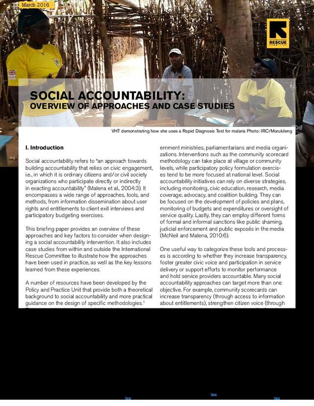 Social accountability: overview of approaches and case