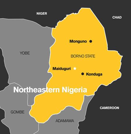 Map of Borno State, northeastern Nigeria