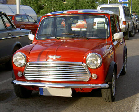 Morris Mini Cooper car with a British Union Jack flag design on its roof
