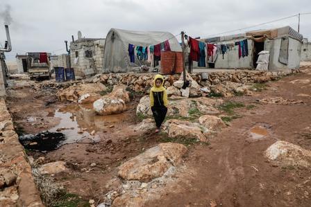 A displaced Syrian boy