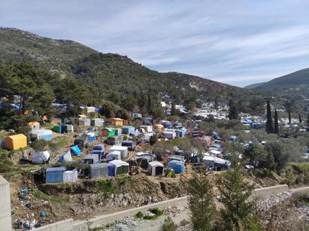 An overcrowded reception center in Greece