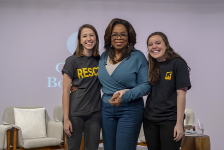 Oprah Winfrey with International Rescue Committee staff members Camille and Hope Arcuri