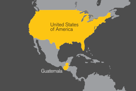 Map showing the United States and Guatemala