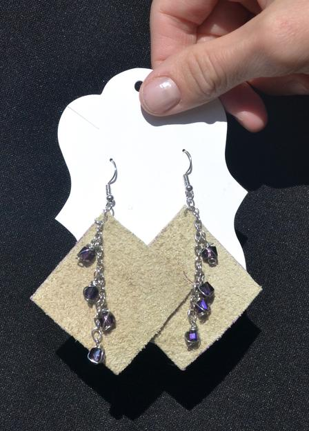 Earrings handcrafted by Hanifa of H & A Designs, a business opened with the help of the International Rescue Committee