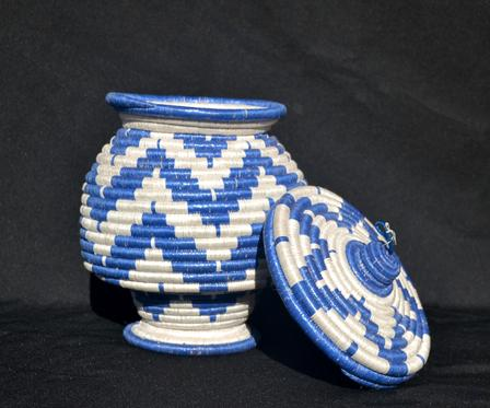 Woven basket created by Eugenie, a participant in the International Rescue Committee in Salt Lake City's small business program