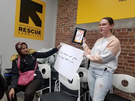 Students in the International Rescue Committee's ESL class used tablets to take pictures around the office and practiced English by describing those photos.