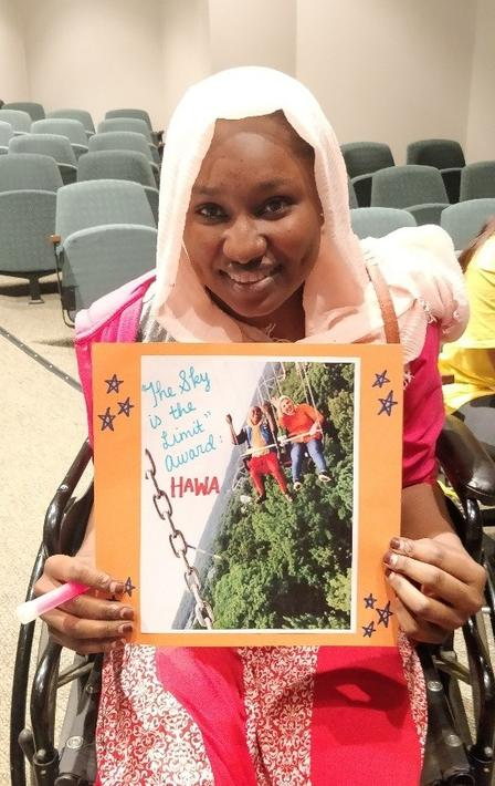 "Hawa received her ""The Sky is the Limit"" Award at the 2018 Ready, Set, College! summer camp."