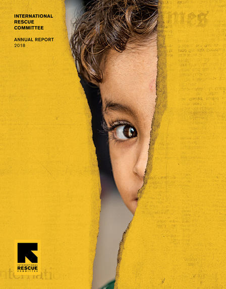 IRC Annual Report 2018 cover, showing a refugee child's face