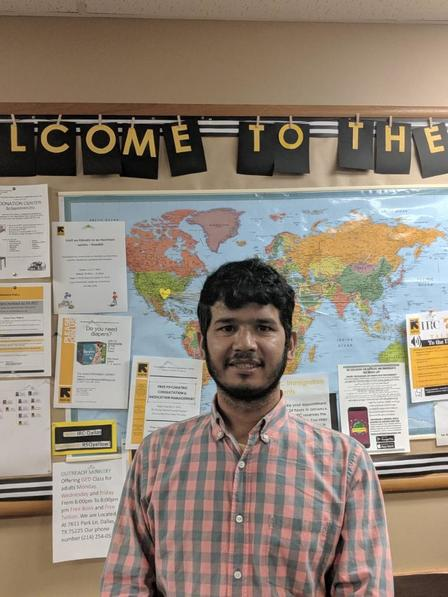 Abdul in the IRC in Dallas lobby ready to start work as a welder.