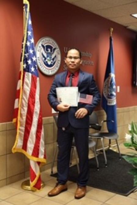 Van Lal was sworn in as a US citizen earlier this year.