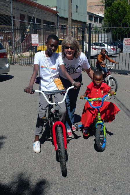 Refugee children receive bikes from the Bicycle Collective at the International Rescue Committee in Salt Lake City.