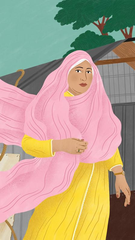 Bodil Jane illustration of Rohingya activist and lawyer, Razia