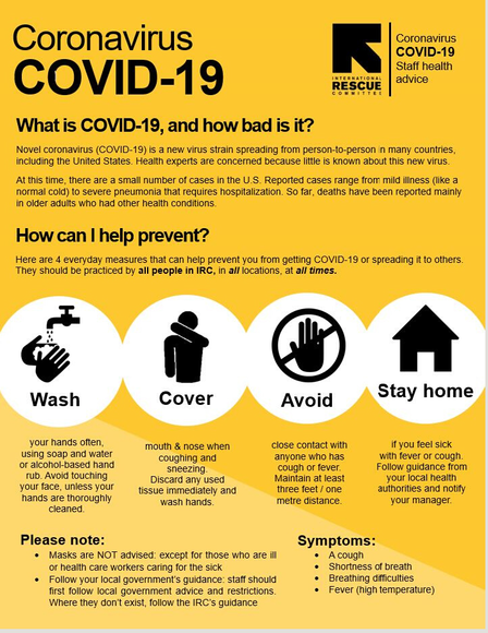 Flyer describing ways to prevent the spread of COVID-19 produced by the International Rescue Committee