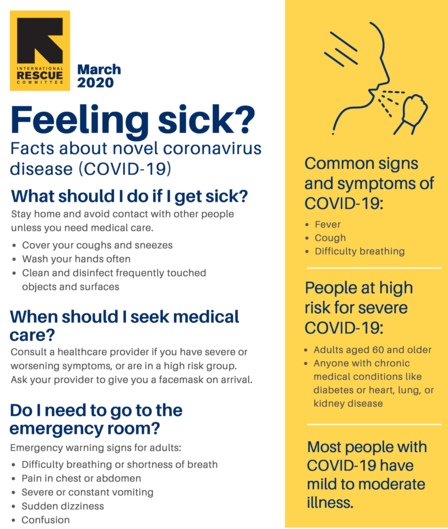 Flyer produced by the State of Idaho describing what to do if you're feeling sick.