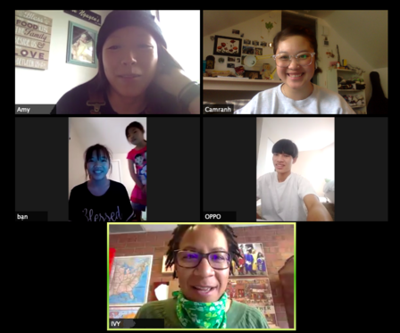 A screenshot of Amy, an Online Youth Tutor with the IRC in Salt Lake City having an online meeting with students