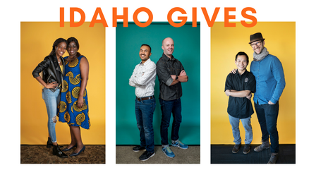"""A group of three photos, each with a pair of people posing together, two against a vibrant yellow backdrop, the middle one against a teal backdrop. Across the top, the words, """"Idaho Gives"""" are written in bold, orange letters. In the first picture, a mothe"""
