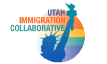 Logo of the Utah Immigration Collaborative, an outline of the Statue of Liberty surrounded by a circle that's filled in with a rainbow gradient.