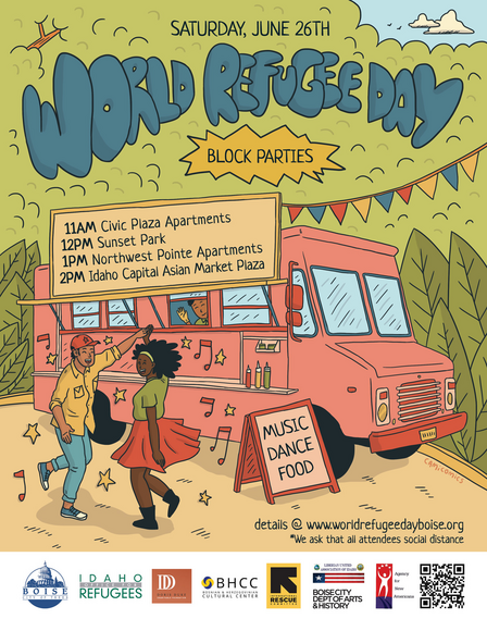 """A colorful illustration of two people dancing in front of a food truck. At the top, it says """"World Refugee Day"""" in big, blue, bubble letters.In smaller letters, it says, """"Saturday, June 26th, and below the schedule in a sign on the food truck."""