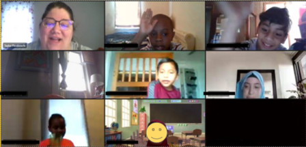 A screenshot of a virtual classroom with eight students featured. The panel is divided into 9 boxes. One box shows the teacher, the other eight boxes are of students. The usernames of the students are also blocked.