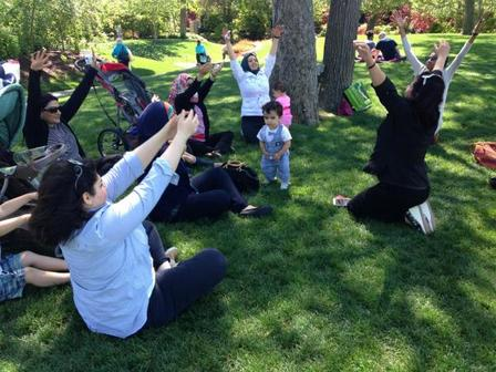 Arab women's support group practicing yoga