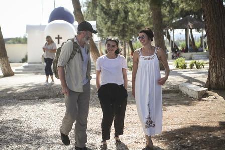 Liam Cunningham, Maisie Williams & Lena Headey visiting IRC programs at Diavata refugee site in northern Greece.