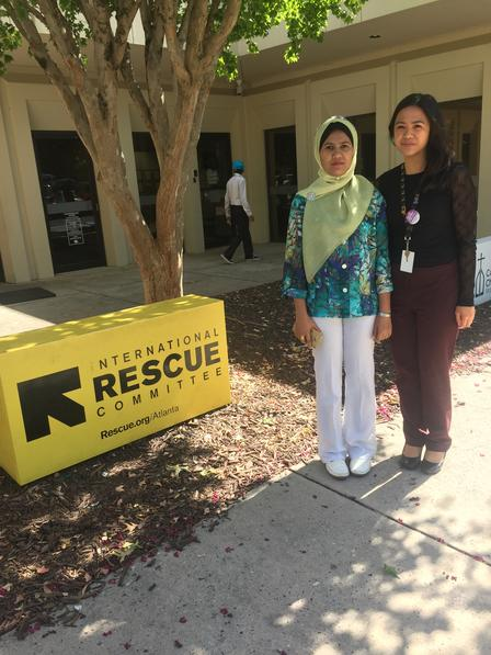 Ambiya with IRC staff member, Stephanie Clemente