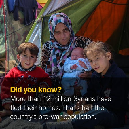 Did you know? More than 12 million Syrians have fled their homes. That's half the country's pre-war population.