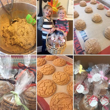 Collage of photos showing baking efforts of young girl fundraising for refugees