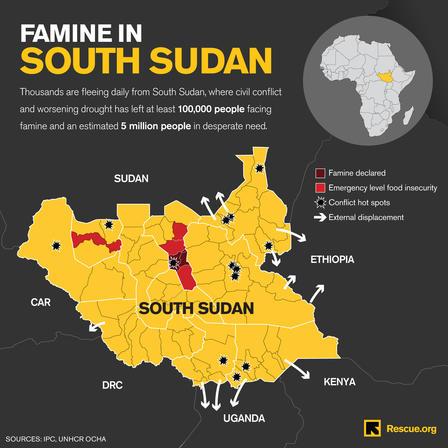 South Sudan famine map March 2017