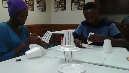 Refugee clients in Abilene participate in a skill building workshop.