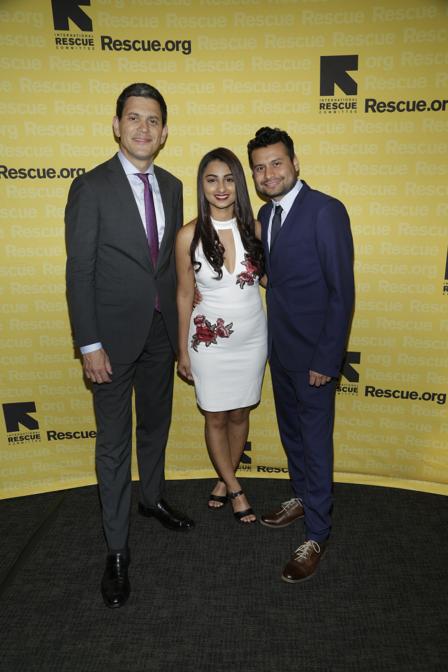 IRC President, David Miliband, with resettled refugee and graduate student at George Washington University Anita Sharma.