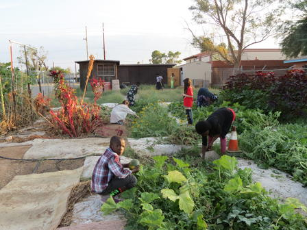 Refugees And Their Children Work In The Community Garden. Photo: IRC
