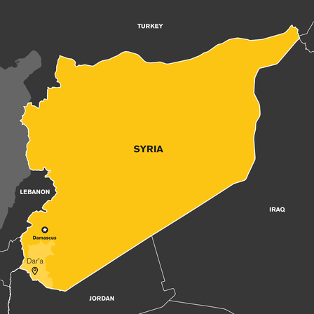 Map showing Dara'a in Syria