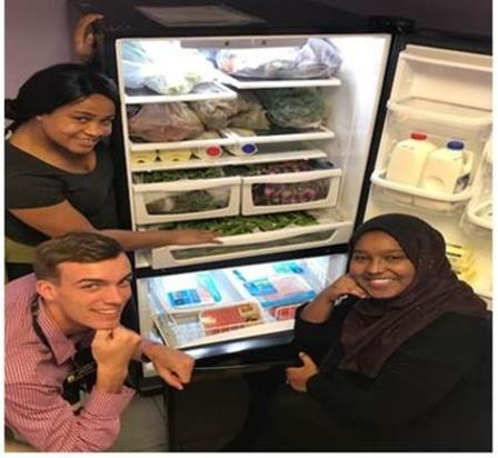 Can you help Lebura, Jacob and Amal keep this fridge stocked for our clients?