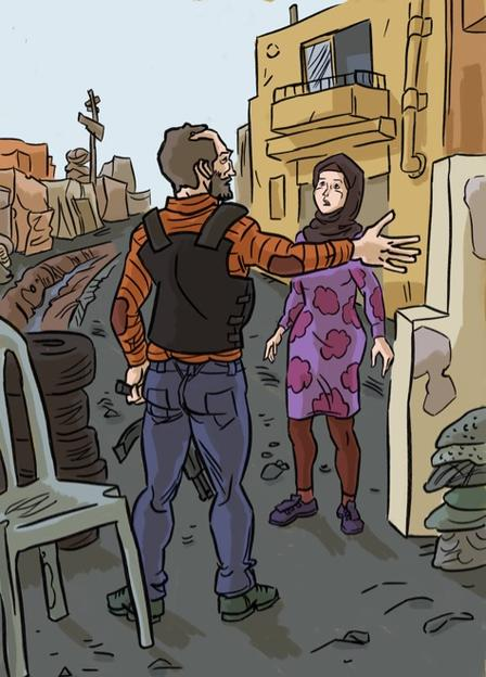 An illustration of the character Hala being stopped at a checkpoint by a guard