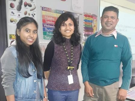 Microenterprise Development Coordinator, Tarangini Saxena, with some of her first clients.