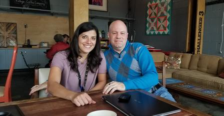 IRC Logistics Manager, Steffani Meier, catches up with Marc Sanders of SMP Properties at Refuge Coffee Co.