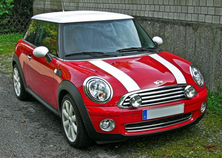 A Mini Cooper automobile