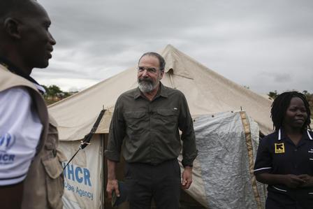 IRC Ambassador Mandy Patinkin in Uganda.