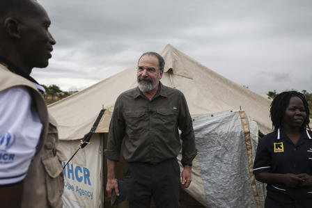 IRC Ambassador Mandy Patinkin in Uganda.