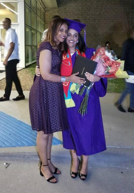 Edom and her mother at the Richland Collegiate High School graduation