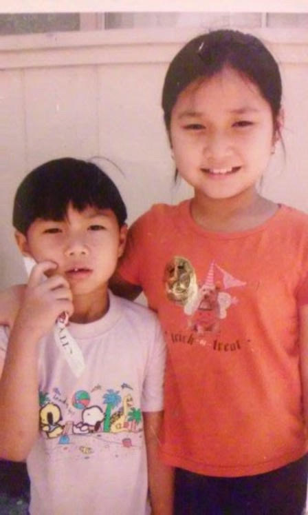 Eh Kaw and her brother in Thailand