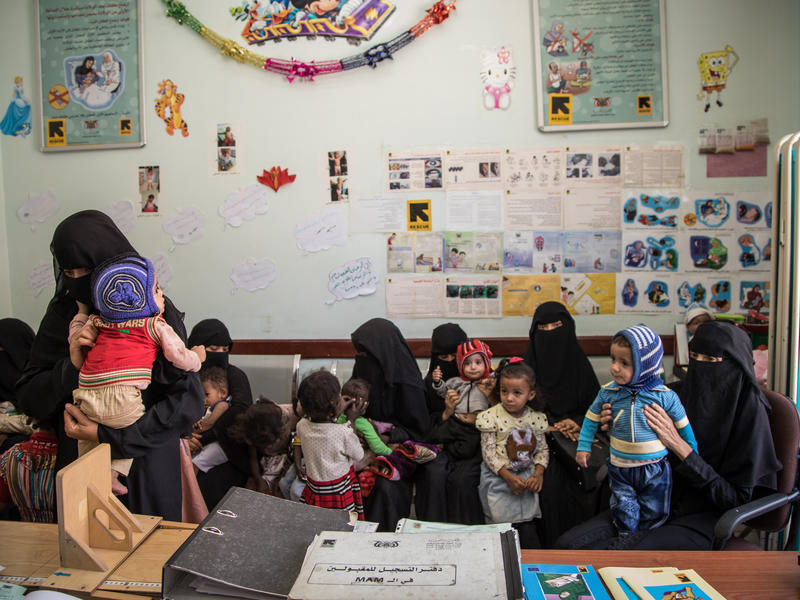 Mothers bring their children for treatment at an IRC-supported health clinic in Sana'a.