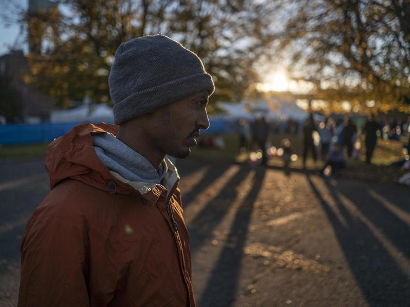 Ethiopian runner Tolassa Elemaa at the New York City Marathon runners' village the morning of  Nov. 4, 2018.