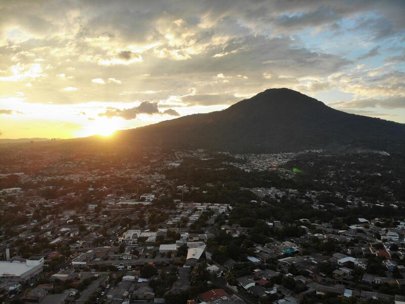 An aerial view of San Salvador, El Salvador and its volcano