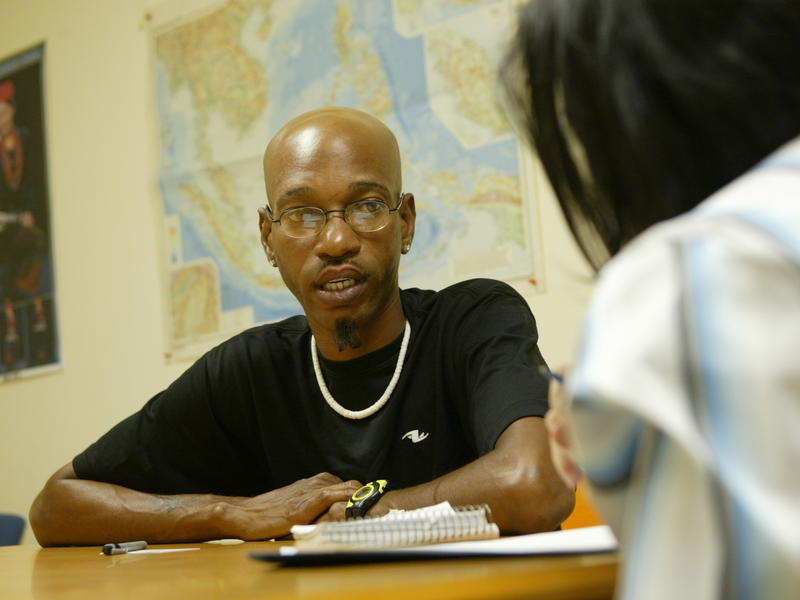Gerry Anderson, who evacuated New Orleans after Hurrican Katrina, meets with an IRC job developer in the IRC's Atlanta office
